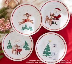 rudolph the nosed reindeer plates pottery barn
