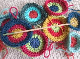 three stories high crochet u0027happy colours u0027 cushion