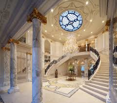 luxury home interior design with marble floor and columns marble