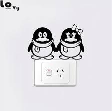 cute penguin couple switch sticker cartoon animal vinyl wall