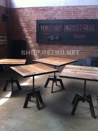 adjustable height is a great idea vintage industrial cafe table