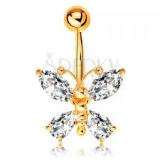 piercing buric aur piercing pentru buric din aur galben 14k fluture cu aripi din