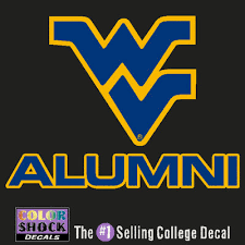 alumni decal wvu downtown mountainlair bookstore wvu mountaineers colorshock
