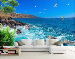 compare prices on wood dolphin wall online shopping buy low price custom mural 3d room wallpaper blue sky the sea gull dolphins decoration painting picture 3d wall