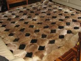 tappeti di pelliccia 71 x 80 marrone e nero tappeto in alpaca