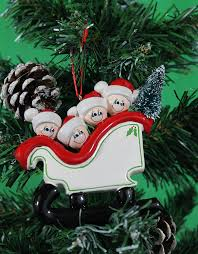 personalized christmas tree decoration ornaments sleigh family