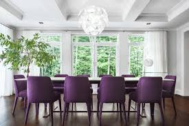 purple dining room ideas circle metal side table decorative crystal and hanging lamp modern