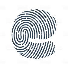 e letter line icon vector fingerprint design stock vector art