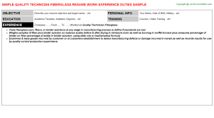 Scheduler Resume Examples by Quality Technician Fiberglass Resume Sample
