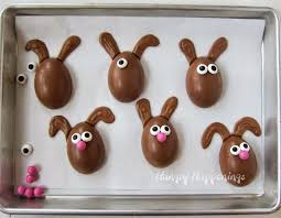 easter rabbits decorations chocolate easter egg bunnies filled with peanut butter fudge