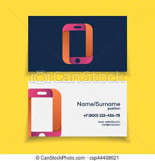 business card design template with phone logo on yellow vector