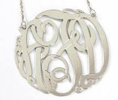 monogram necklace white gold 14k gold monogram necklace big slim be monogrammed