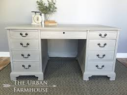 French Computer Desk by Refinished Light Grey Executive Desk Annie Sloan French Linen