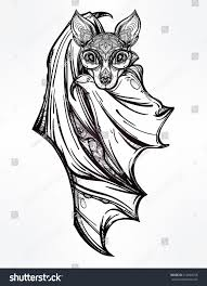 ornate nocturnal bat design tattoo art stock vector 314894768