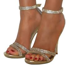 ladies diamante glitter strappy ankle sandals shoes heels wedding