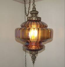 vintage iridescent amber glass hanging swag lamp pioneer classifieds