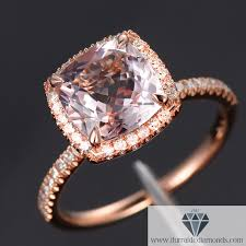 engagement rings modified cushion cut morganite diamond pave halo 14k gold