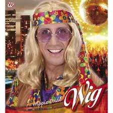 foto hippie figli dei fiori parrucca hippie dude bionda lunga uomo anni 70 figlio dei fiori