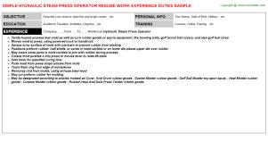 hydraulic steam press operator job title docs