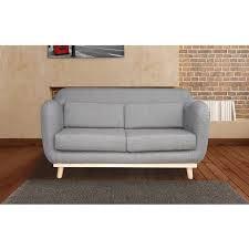 pieds de canapé canapé 2 places fixes pieds bois en tissu coloris gris maison et