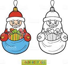 coloring book christmas tree toy santa claus stock vector art