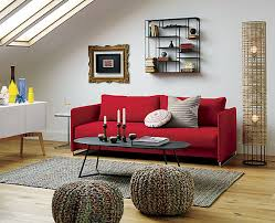 Small Cabin Decorating Ideas And Inspiration Simple Living Room - Red sofa design ideas