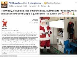 phil lavelle writes letter from u0027santa u0027 to son saying he u0027s given