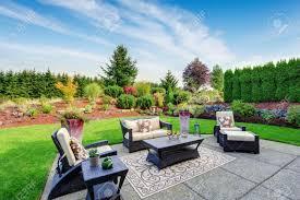 impressive backyard landscape design cozy patio area with settees