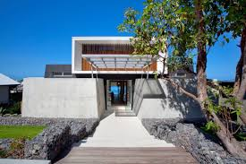 steps entrance exposed concrete coolum bays beach house in