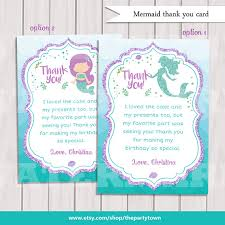 mermaid thank you cards little mermaid party under the sea thank