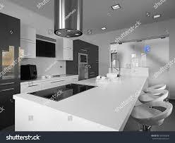 modern kitchen gray tile floor white stock photo 107540618