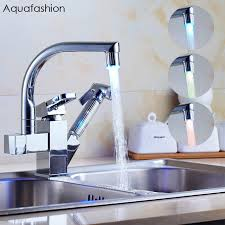 kitchen sink and faucet led pull out spray kitchen sink faucet double spout kitchen sink