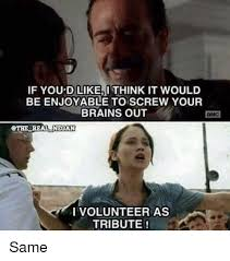 I Volunteer As Tribute Meme - if you d like i think it would be enjoyable to screw your brains out