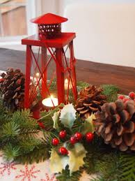 decorations red tower christmas candle lantern centerpiece