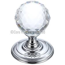 fb301cp glass ball mortice knob facetted blue 55mm zoo