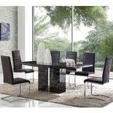 black marble dining table set rialto marble dining table set in black with 4 black chairs