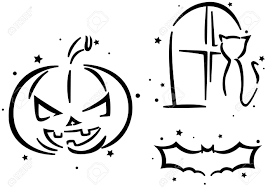 cartoon pumpkin stencil halloween stencil featuring a jack o lantern a cat and a bat