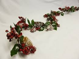 180cm berry and pine cone artificial christmas garland with snow
