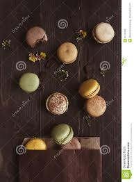 Wooden Table Top View Sweet Background Delicious Macaroons On The Wooden Table Top