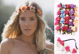 flower band flower crown hair band headband boho hippy hippie floral bridal