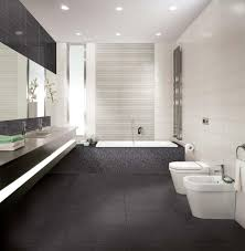 bright bathroom with pretty black accents tiles flooring plus