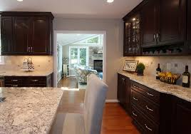 Laminate Flooring Dark Wood Kitchen Engaging White Spring Granite Dark Wooden Kitchen
