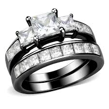 couples rings images Couples rings black set womens 3 stone type princess cz engagement jpg