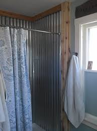 the new ribbed galvanized steel shower with cedar trim for the