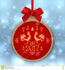 christmas ball happy new year 2017 greeting card template label