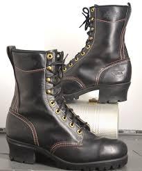 vintage dickies rugged lugger steel toe logger boots black us9 5