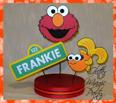 sesame street pool party elmo centerpiece personalized name and by glittermagicparty on zibbet