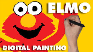 elmo painting elmo sesame for simple how to draw or paint for