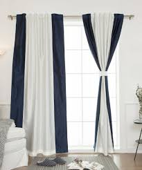 Navy Blue Blackout Curtains Best Home Fashion Ivory U0026 Navy Side Border Blackout Curtain Zulily