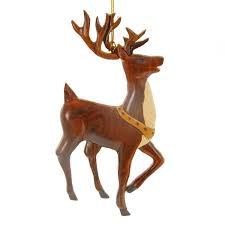 hawaiian ornament wood reindeer